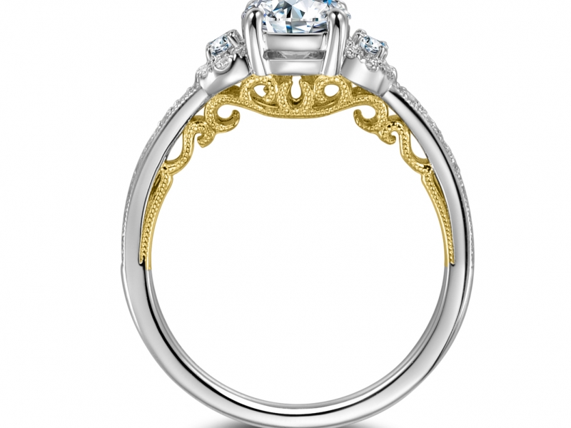 14k White Gold Engagement Ring W 2 Side Stones And Yellow Gold Lace Rgr40015 Engagement Rings From Montoya Jewelry Designs Windsor Ca