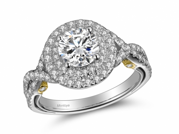 Engagement Rings - 14k Two Tone Diamond Lace Double Halo