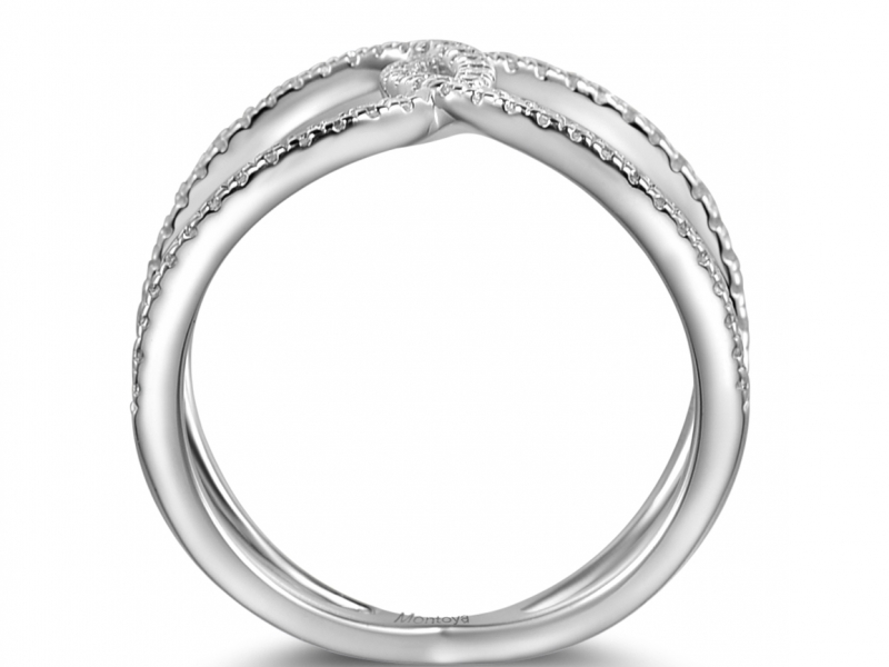 Diamond Fashion - 14k White Gold Criss Cross - image #2