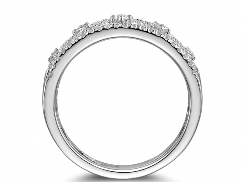 Diamond Fashion - 14k White Gold and Diamond Detailed Band - image #2