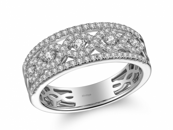 Diamond Fashion - 14k White Gold and Diamond Detailed Band