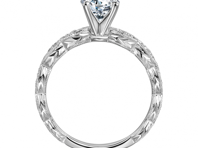 Engagement Rings - 14k White Gold Scalloped Engraved Solitaire - image #2