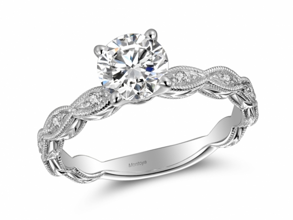Engagement Rings - 14k White Gold Scalloped Engraved Solitaire
