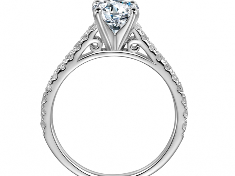 Engagement Rings - 14k White Gold Diamond Band Classic - image #2