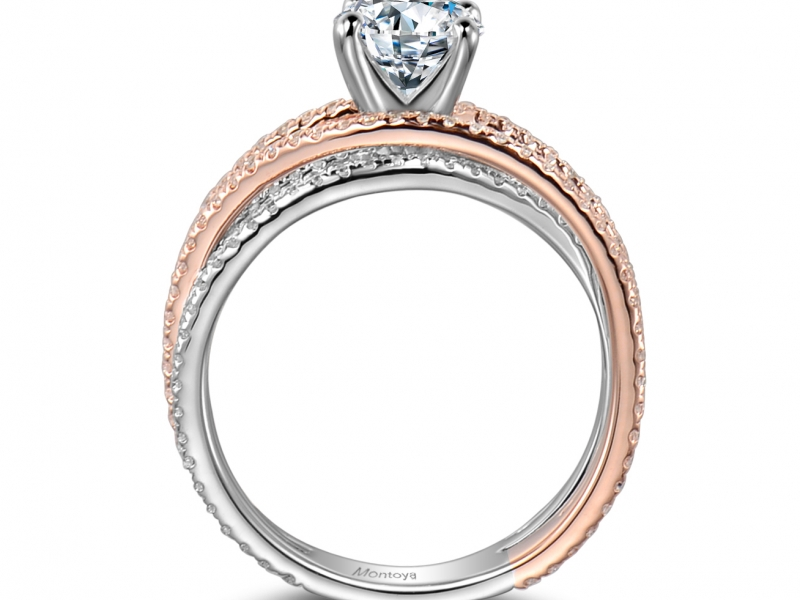 Engagement Rings - Wrap Around 14k Rose Gold and White Gold Ring - image #2