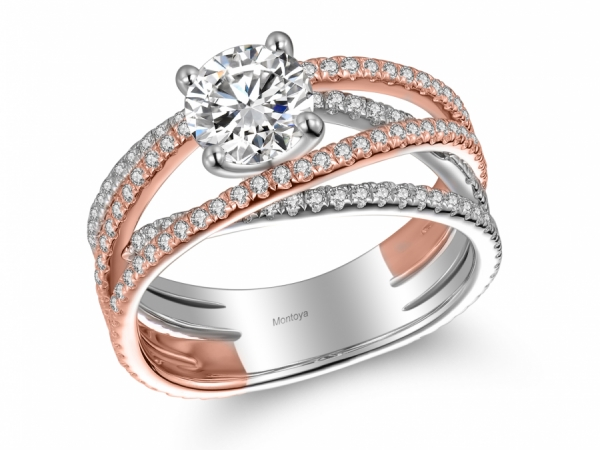 Engagement Rings - Wrap Around 14k Rose Gold and White Gold Ring