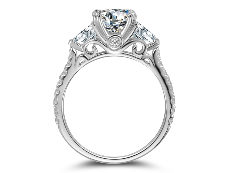 Engagement Rings - Oval Center with Parachute side stones - image #2