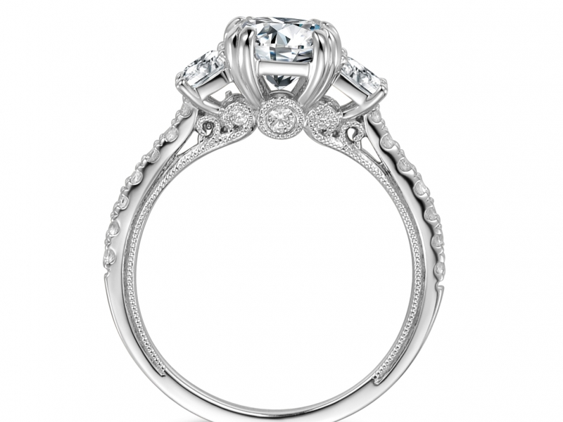 Engagement Rings - 14k White Gold 3 Stone Princess Cut - image #2