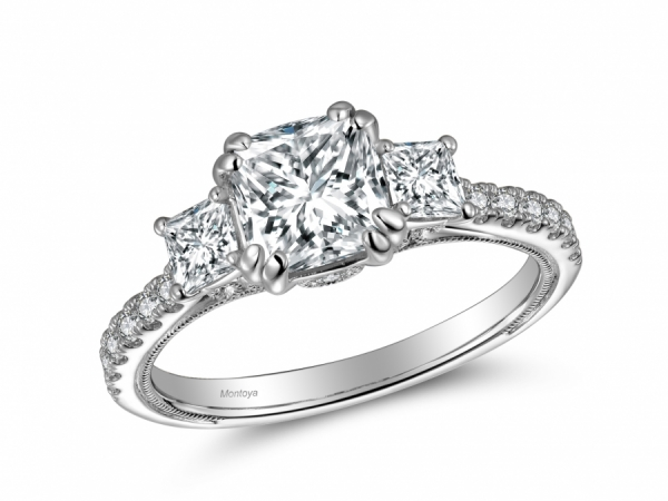 Engagement Rings - 14k White Gold 3 Stone Princess Cut