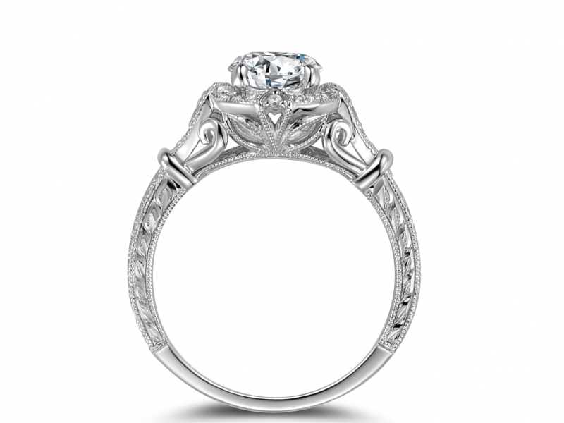 Engagement Rings - 14k White Gold Vintage Halo with Engraving - image #2