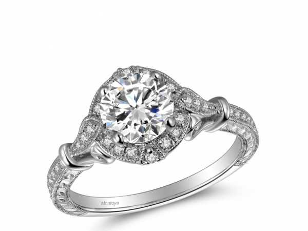Engagement Rings - 14k White Gold Vintage Halo with Engraving