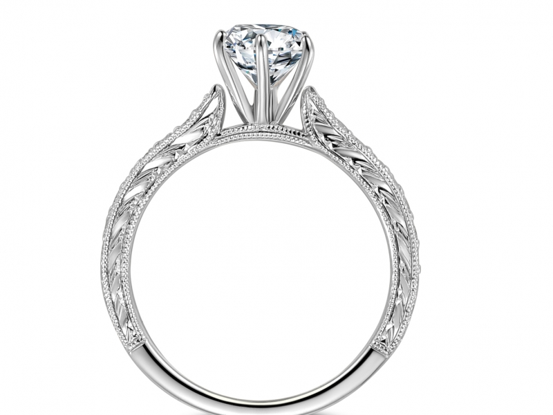 Engagement Rings - 14k White Gold Classic Engraved - image #2