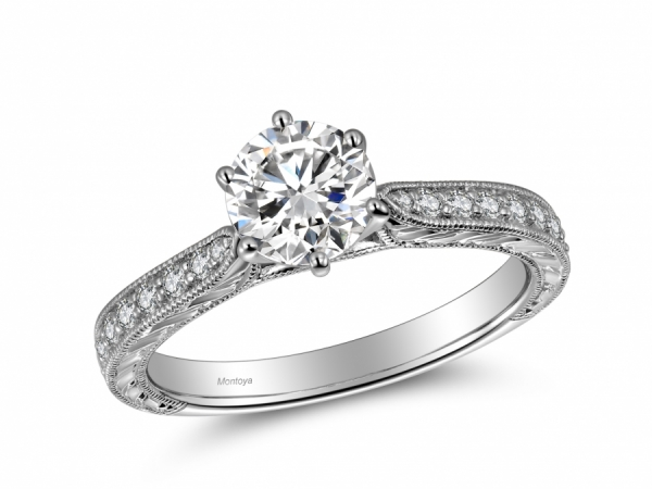 Engagement Rings - 14k White Gold Classic Engraved
