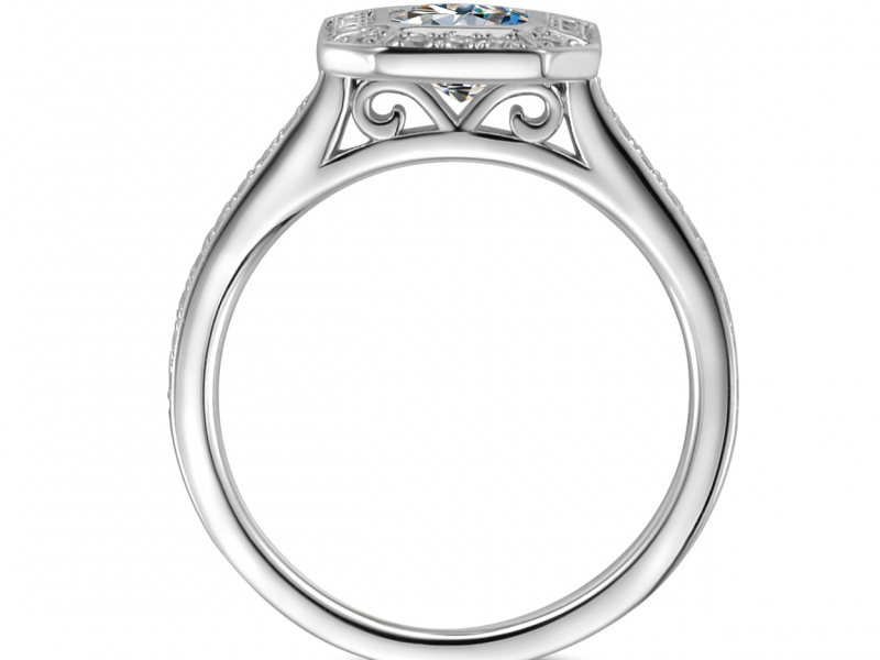 Engagement Rings - 14k Emerald Cut Halo - image #2