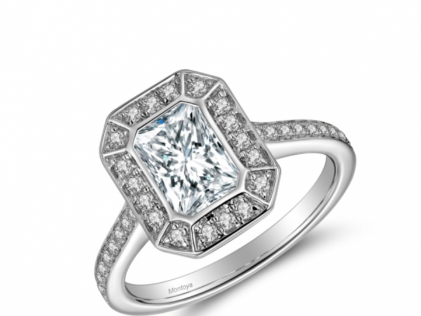 Engagement Rings - 14k Emerald Cut Halo