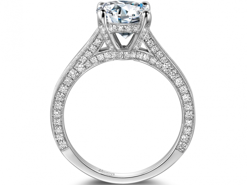 Engagement Rings - 14k White Gold Solitaire Ring with Pave sides - image #2
