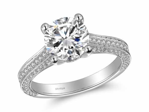 Engagement Rings - 14k White Gold Solitaire Ring with Pave sides
