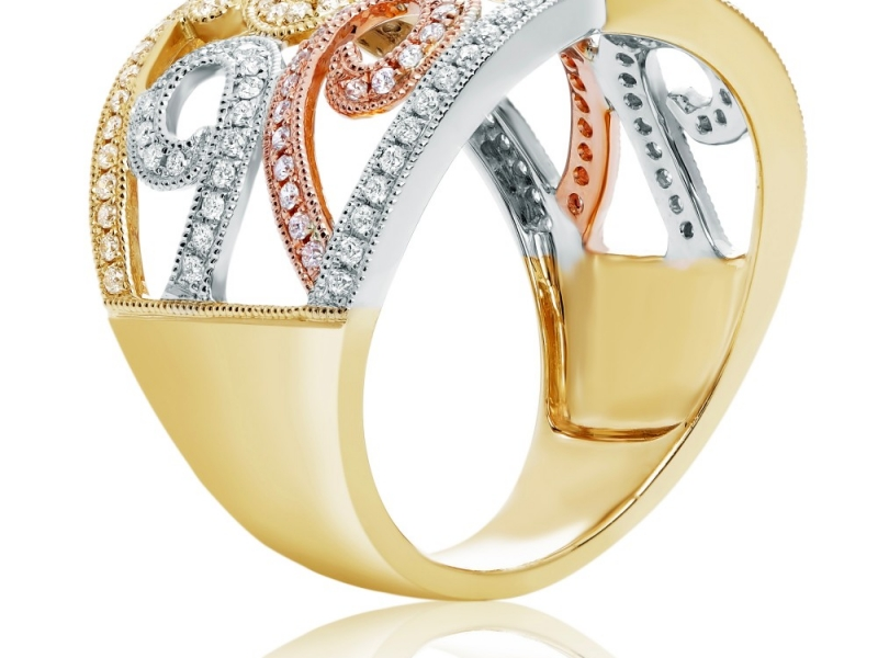 Diamond Fashion - Swirling Diamond Fashion Ring - image #2