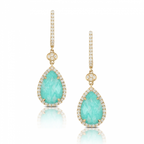 Lady's 18 karat yellow gold drop earrings featuring Amazonite surrounded by a diamond halo
