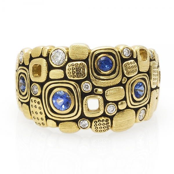 Yellow gold, diamond and sapphire