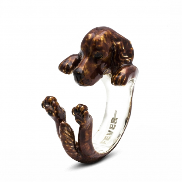 Setter enamel hug ring by Dog Fever