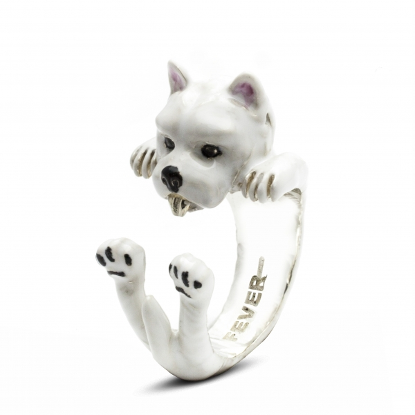 West Highland Terrier enamel hug ring by Dog Fever