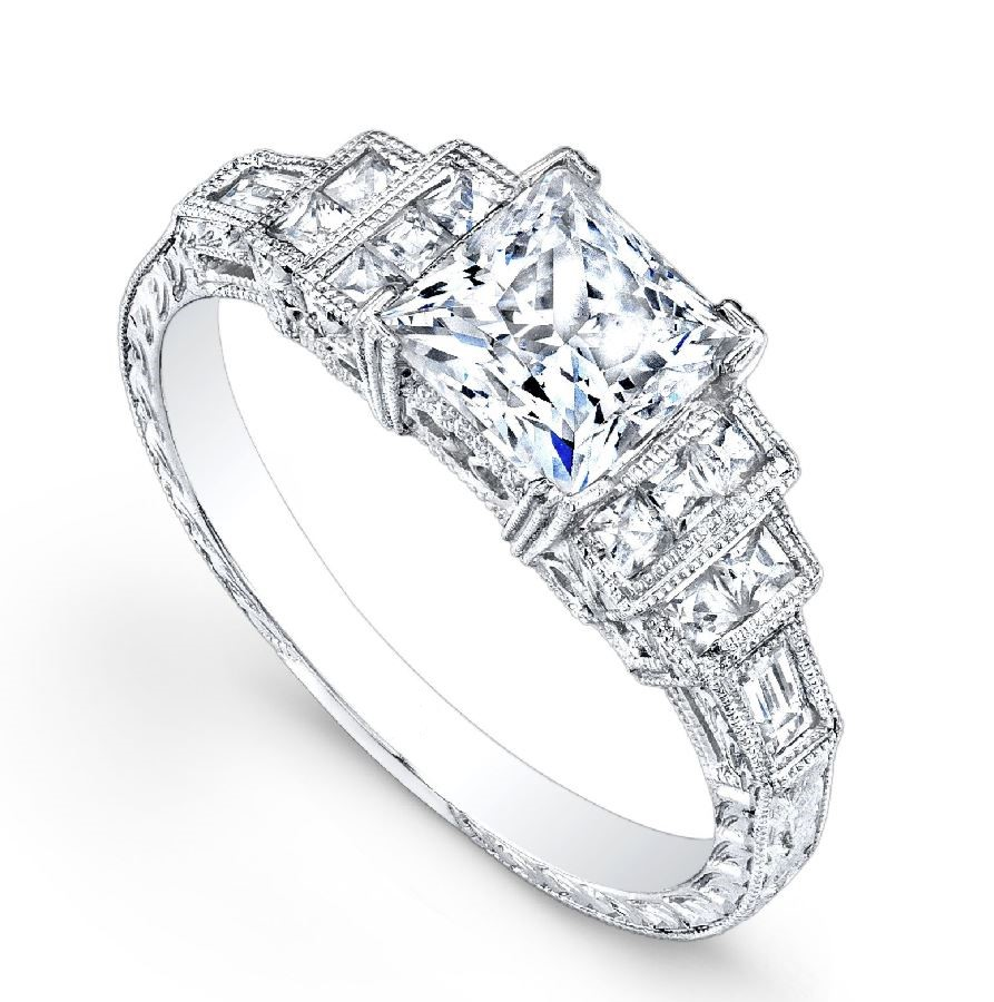 Engagement Ring - Platinum Engraved Engagement Ring with 0.28 Carats Total Weight of G VS quality Diamonds. Ring size 6.5