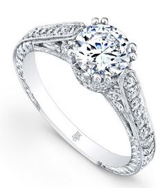 Engagement Ring - Platinum Engraved Engagement Ring with 0.45 Carats Total Weight of Round Diamond at G VS Quality Diamonds and One 6.2mm Round Cubic Zirconia. (equivalent to a 0.90ct to 1.05 carat round diamond size) Ring Size 6.5