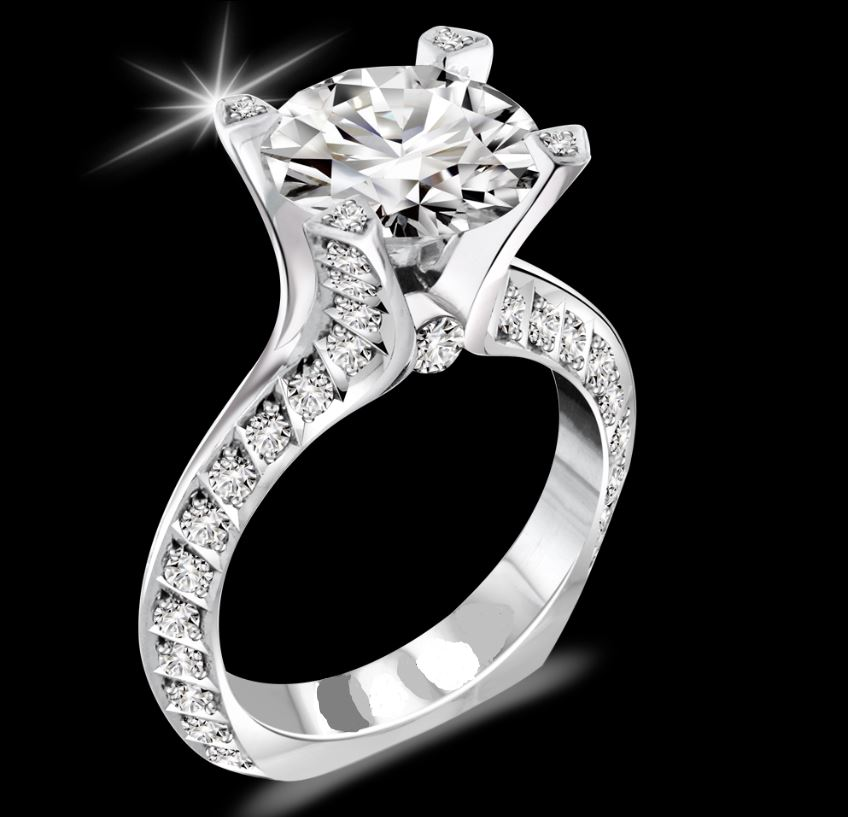 Engagement Ring - 18 Karat White Gold Palladium Engagement Ring with a 8 millimeter Round Cubic Zirconia(Equivalent to a 1.80 carat to 2 carat Round Diamond size) & 62 Round Diamonds at 0.90 Carats Total Weight of F/G Vs1 Diamonds Ring Size 7