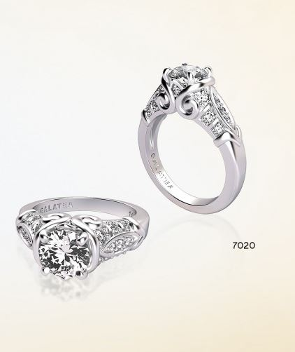 Engagement Ring - SAMPLE RING (STERLING SILVER RHODIUM) DO NOT SELL 14 Karat White Gold Engagement Ring with 20 Round Cubic Zirconias at 0.23 Carats Total Weight & One 1.00 Carat Round Cubic Zirconia $2,250 is the retail if it were made in 14 karat white gold with the 20 Round Diamonds at 0.23 Carats Total Weight (excluding center stone) SAMPLE RING (Sterling Silver Rhodium) DO NOT SELL Ring Size 7