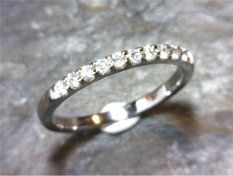 Wedding Band - 14 Karat White Gold Shared Prong Wedding Band with 11 Round Diamonds at 0.10 Carats Total Weight of G/H SI Diamonds Ring Size 6.5