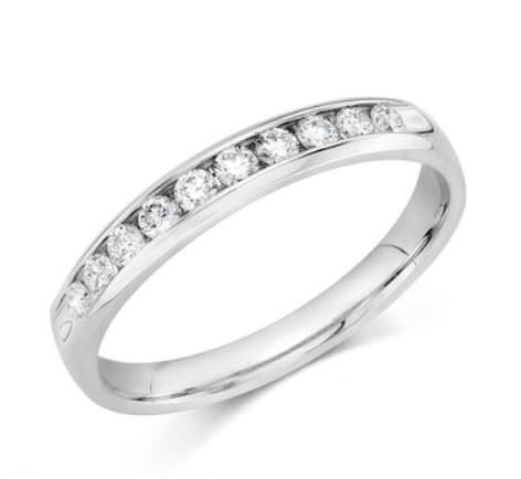 Wedding Band - 10 Karat White Gold 3mm Wedding Band with 12 Round Diamonds at 0.24 Carats Total Weight of G/H Si1 Quality Diamonds. Ring Size 6.75