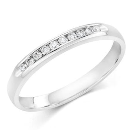 Wedding Band - 10 Karat White Gold 2.5mm Wedding Band with 10 Round Diamonds at 0.10 Carats Total Weight of G/H Si1 Quality Diamonds. Ring Size 6.75
