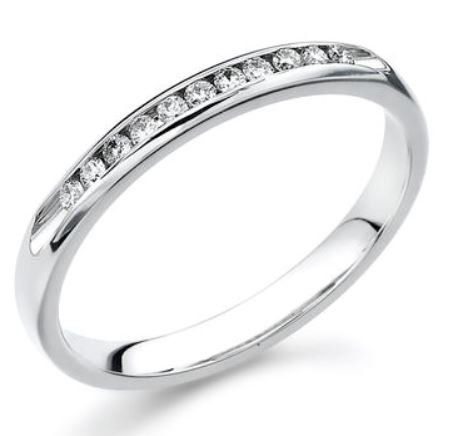 Wedding Band - 14 Karat White Gold 2.5mm Wedding Band with 11 Round Diamonds at 0.11 Carats Total Weight of G/H Si1 Quality Diamonds. Ring Size 6.75