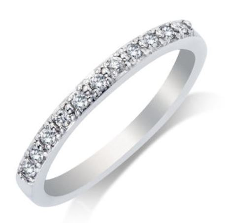 Wedding Band - 14 Karat White Gold 2.25mm Wedding Band with 11 Round Diamonds at 0.16 Carats Total Weight of G/H Si1 Quality Diamonds. Ring Size 7