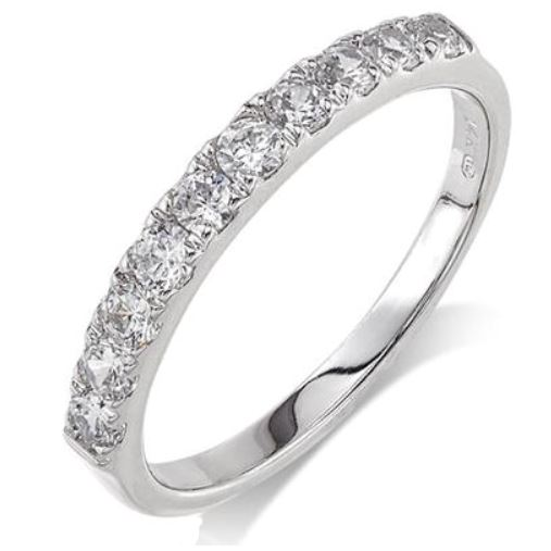 Wedding Band - 14 Karat White Gold 2.75mm Wedding Band with 10 Round Diamonds at 0.50 Carats Total Weight of G/H Si Quality Diamonds. Ring Size 7