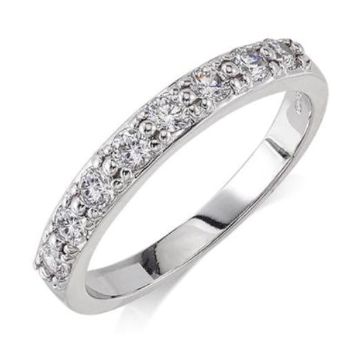 Wedding Band - 14 Karat White Gold 3mm Wedding Band with 8 Round Diamonds at 0.48 Carats Total Weight of G/H Si Quality Diamonds. Ring Size 7