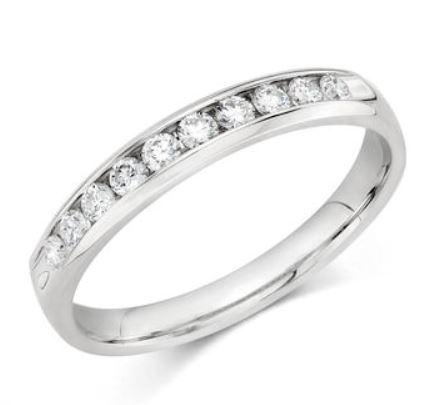 Wedding Band - 14 Karat White Gold 3mm Wedding Band with 10 Round Diamonds at 0.25 Carats Total Weight of G Si1 Diamonds. Ring Size 6.75