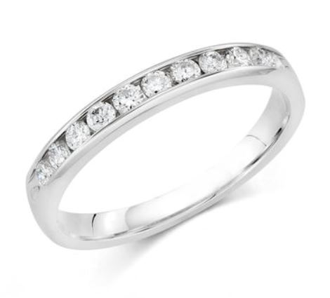 Wedding Band - 14 Karat White Gold 3mm Wedding Band with 11 Round Diamonds at 0.33 Carats Total Weight of G Si1 Diamonds. Ring Size 6.75