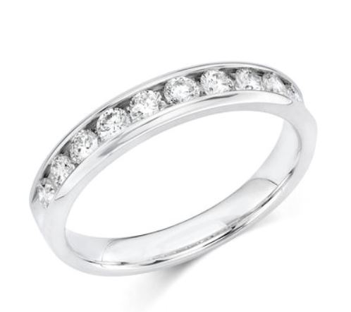 Wedding Band - 14 Karat White Gold 3.5mm Wedding Band with 10 Round Diamonds at 0.50 Carats Total Weight of G Si1 Diamonds. Ring Size 6.75