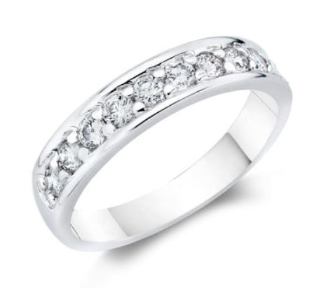 Wedding Band - 14 Karat White Gold 4.25mm Wedding Band with 10 Round Diamonds at 0.50 Carats Total Weight of G Si1 Diamonds. Ring Size 6.75