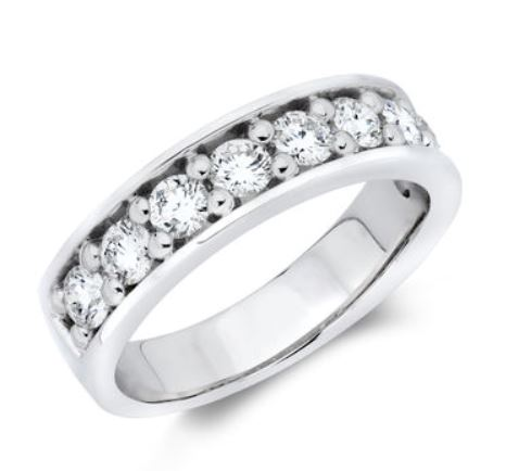 Wedding Band - 14 Karat White Gold 5.25mm Wedding Band with 9 Round Diamonds at 0.99 Carats Total Weight of G Si1 Diamonds. Ring Size 7.25