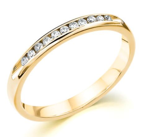 Wedding Band - 14 Karat Yellow Gold 2.5mm Wedding Band with 11 Round Diamonds at 0.11 Carats Total Weight of G/H Si1 Diamonds. Ring Size 6.75