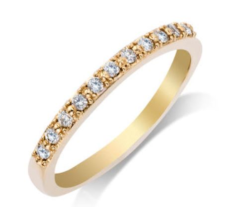 Wedding Band - 14 Karat Yellow Gold 2.25mm Wedding Band with 11 Round Diamonds at 0.16 Carats Total Weight of G/H Si1 Diamonds. Ring Size 7