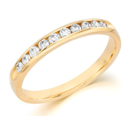 Wedding Band - 14 Karat Yellow Gold 3mm Wedding Band with 12 Round Diamonds at 0.24 Carats Total Weight of G/H Si1 Diamonds. Ring Size 7