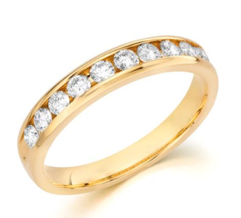 Wedding Band - 14 Karat Yellow Gold 3.5mm Wedding Band with 12 Round Diamonds at 0.48 Carats Total Weight G/H SI1 Diamonds Ring Size 6.75