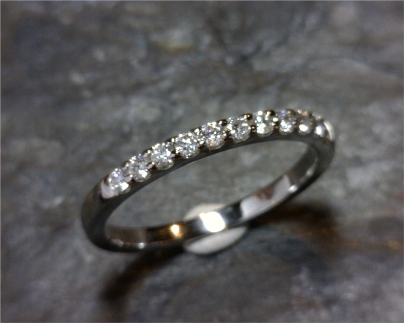 Wedding Band - 14 Karat White Gold Shared Prong Wedding Band with 11 Round Diamonds at 0.25 Carats Total Weight of G/H SI Diamonds Ring Size 6.5