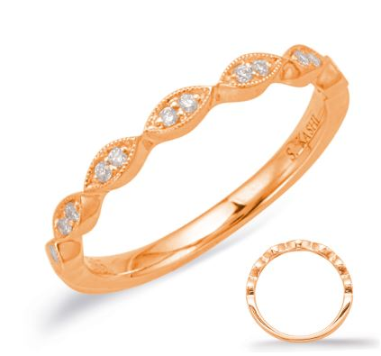 Wedding Band - 14 Karat Rose Gold Wedding Band with 14 Round Diamonds at 0.07 Carats Total Weight at G/H Si Quality Diamonds. Ring Size 6 Can be special ordered in 14 Karat White, Yellow or Rose Gold, 18 Karat White, Yellow or Rose Gold and Platinum.