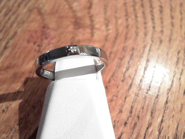Fashion Ring - Sterling Silver Rhodium Fashion Ring Size 6.25 With One Round Diamond