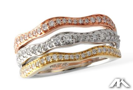 Fashion Ring - 14 Karat White, Yellow & Rose Gold Fashion Ring with 0. 51 Carats Total Weight of Round G SI1/SI2 Diamonds  Ring Size 7